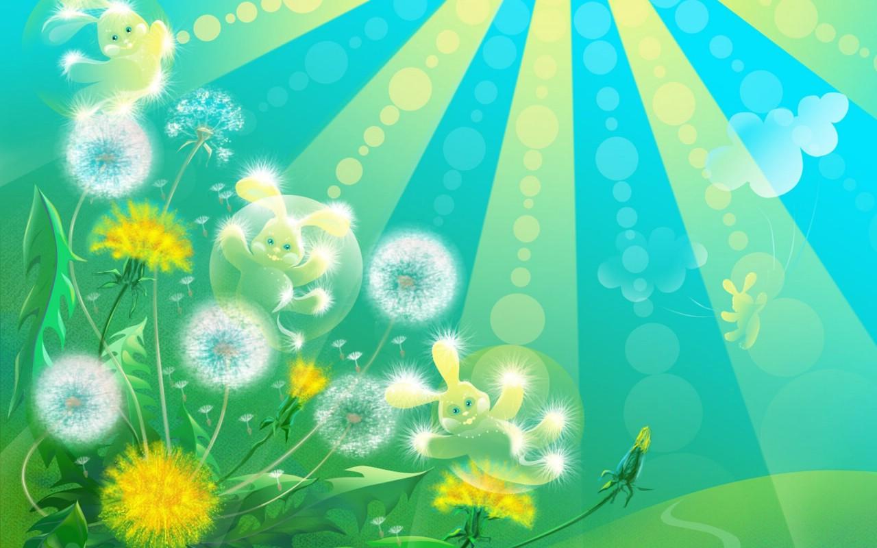 可爱蒲公英和小白兔卡通壁纸壁纸,插画设计大杂烩 第十三辑