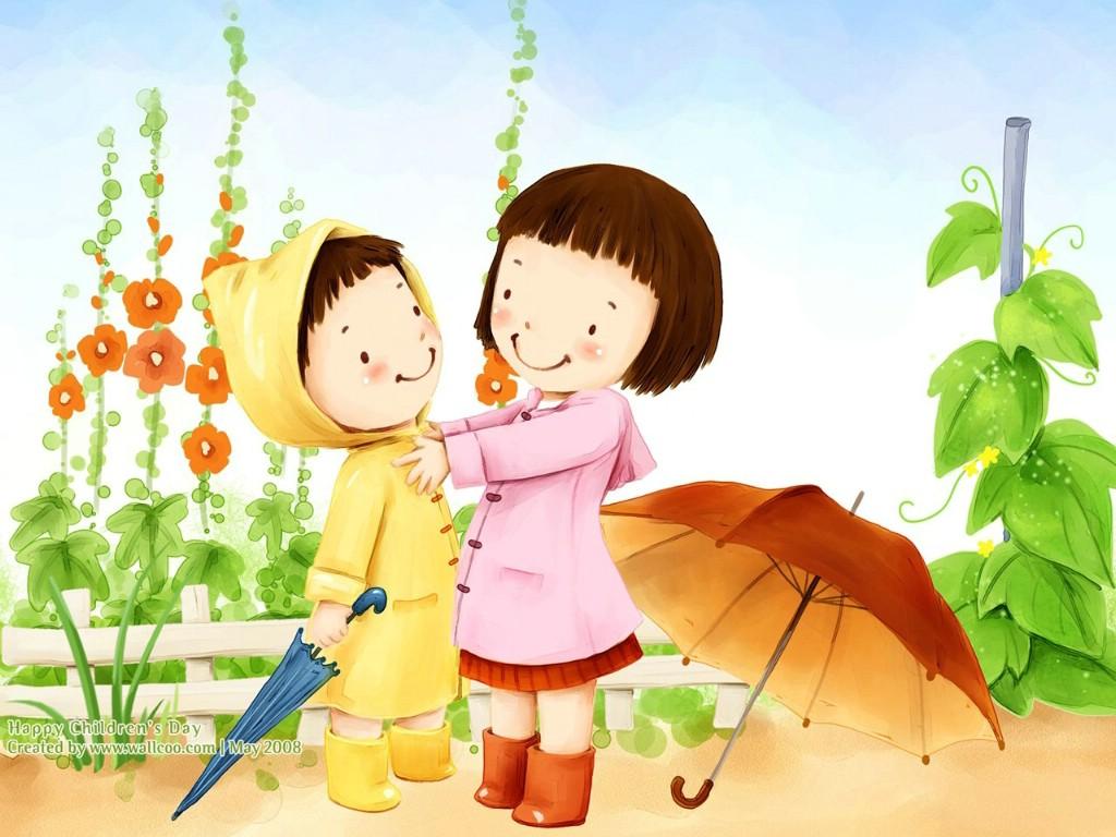 可爱儿童插画壁纸 穿雨衣