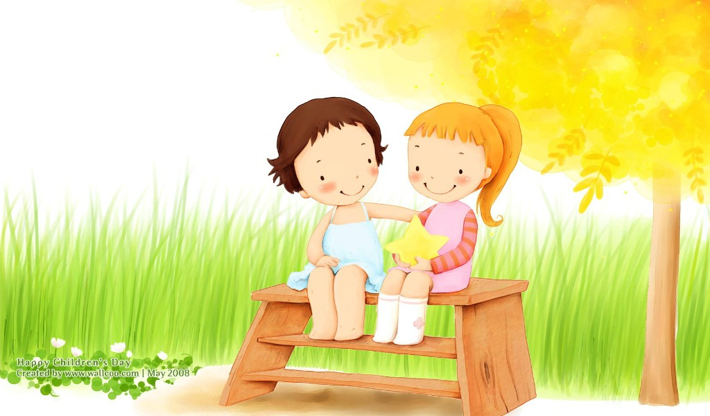 可爱儿童插画壁纸 好朋友