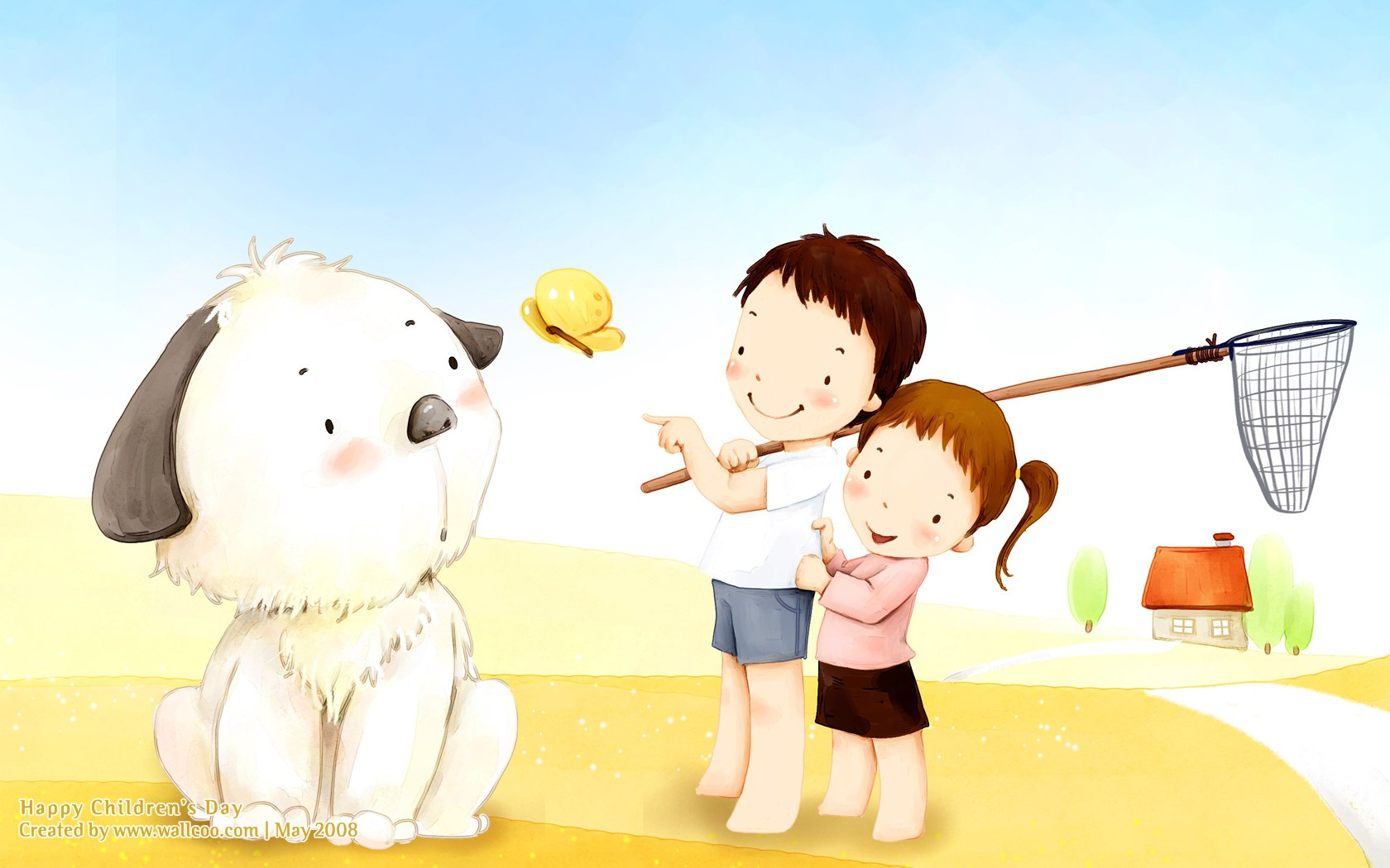 韩国儿童卡通插画桌面壁纸; 儿童节 - 可爱儿童插画壁纸 -; 获得韩国
