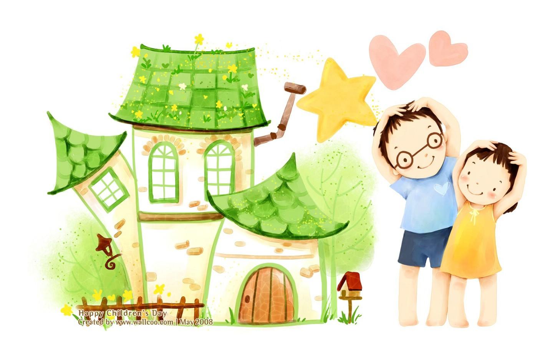 壁纸1440×900儿童节 可爱儿童插画壁纸