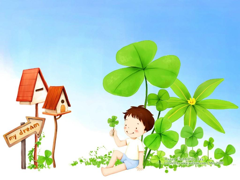 可爱儿童插画壁纸 可爱小男孩卡通图片
