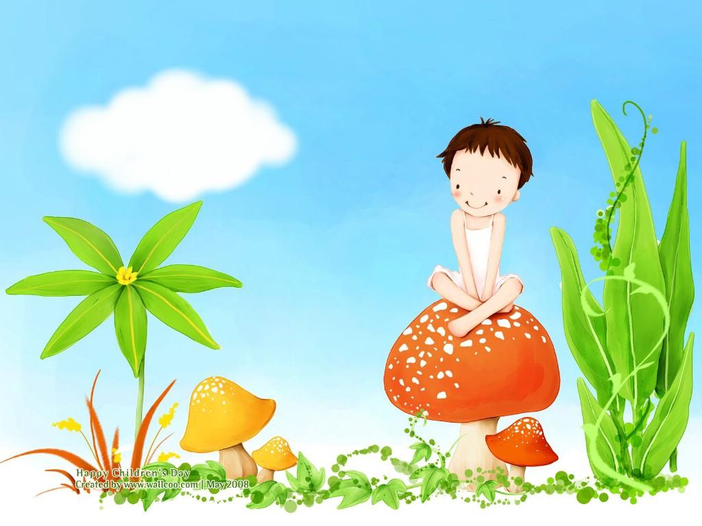 金箔纸墙纸贴顶效果图- 可爱儿童插画壁纸 蘑菇女孩 可爱小女孩卡通图片