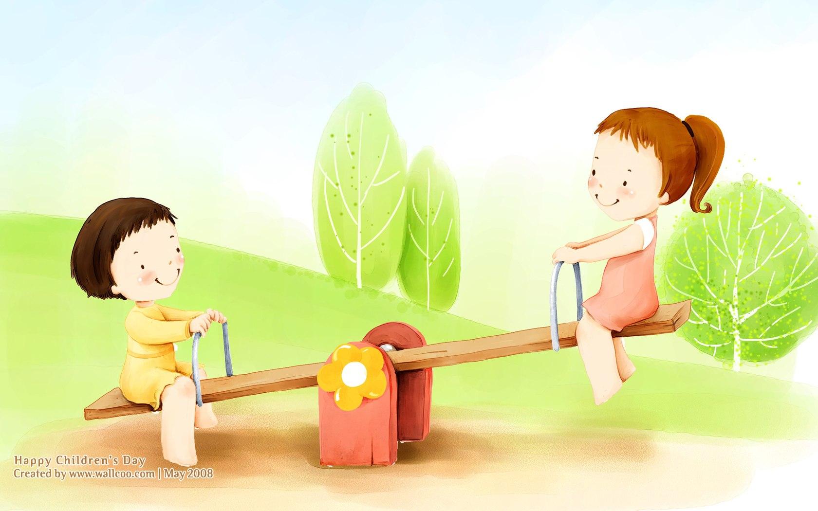 ×1050儿童节 可爱儿童插画壁纸 跷跷板 韩国卡通儿童