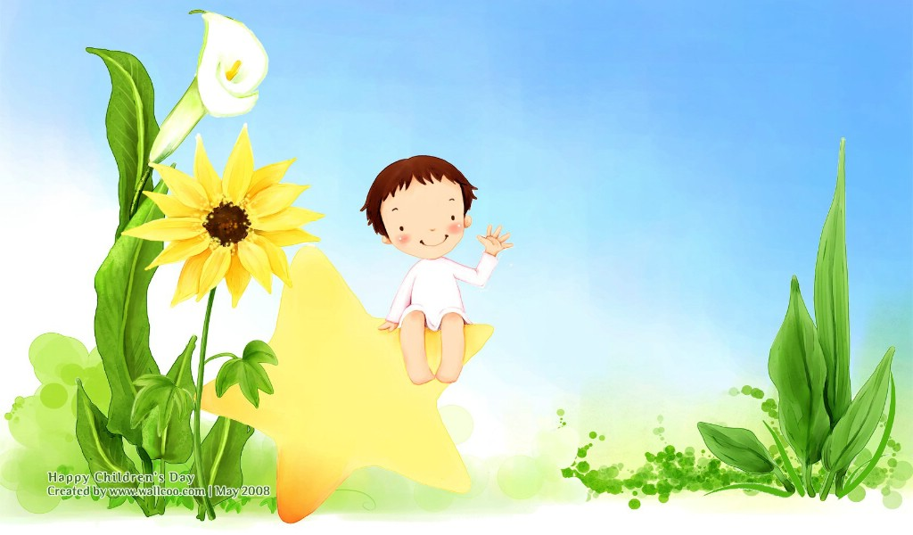 可爱小女孩卡通图片 韩国插画壁纸