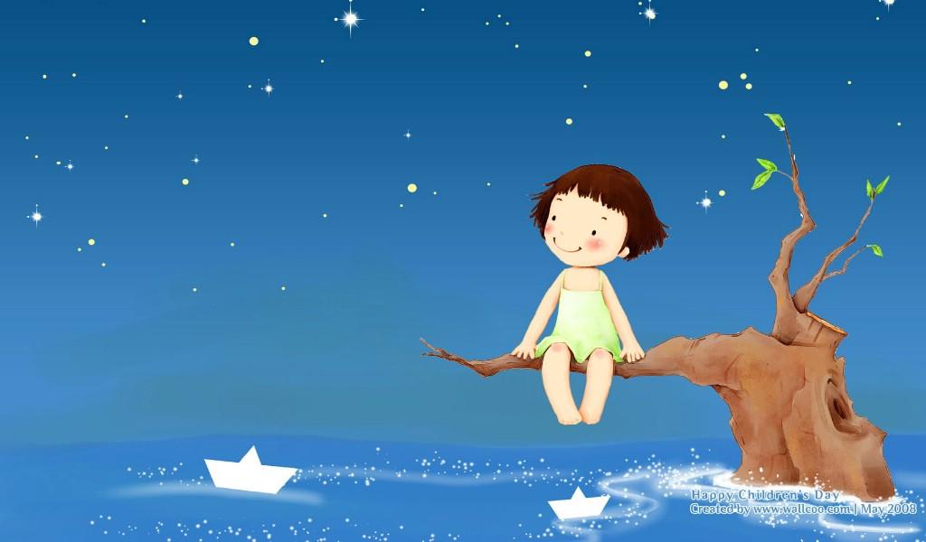 可爱儿童插画壁纸 可爱小女孩卡通图片