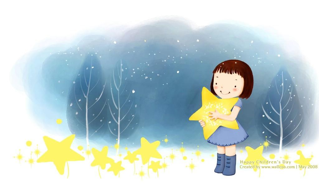 可爱儿童插画韩国卡通女孩插画可爱小女孩-插画甜美可爱小女孩高清