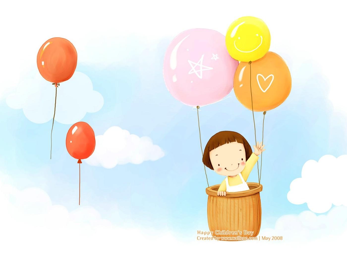 可爱儿童插画壁纸 彩色气球