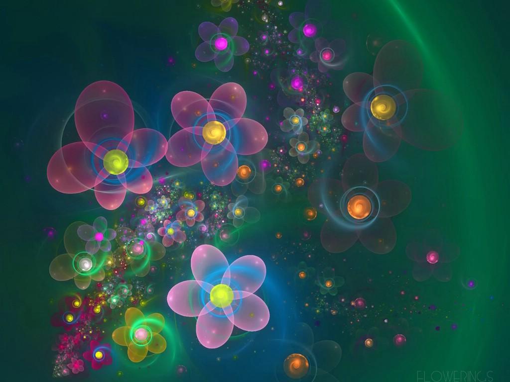 分形艺术花卉 几何图形的