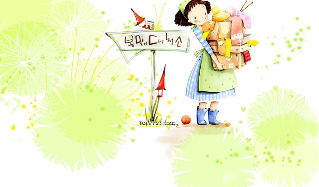 webjong可爱小女孩插画;