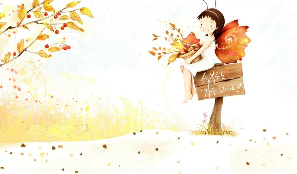 webjong可爱小女孩插画壁纸