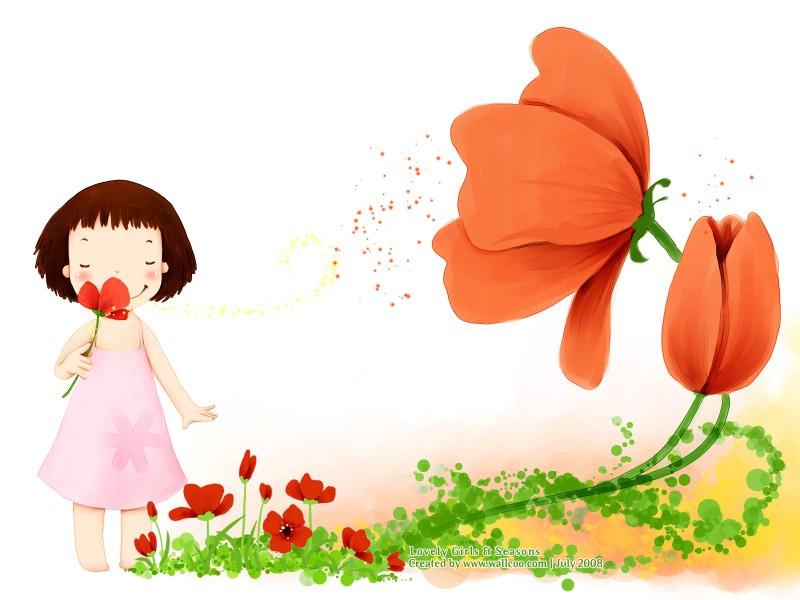 韩国卡通女孩插画壁纸