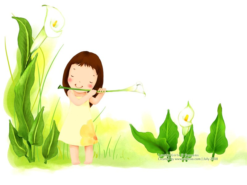 插画壁纸 韩国儿童插画-可爱小女孩