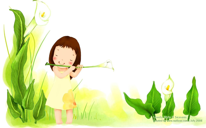 壁纸1440×900春天小天使