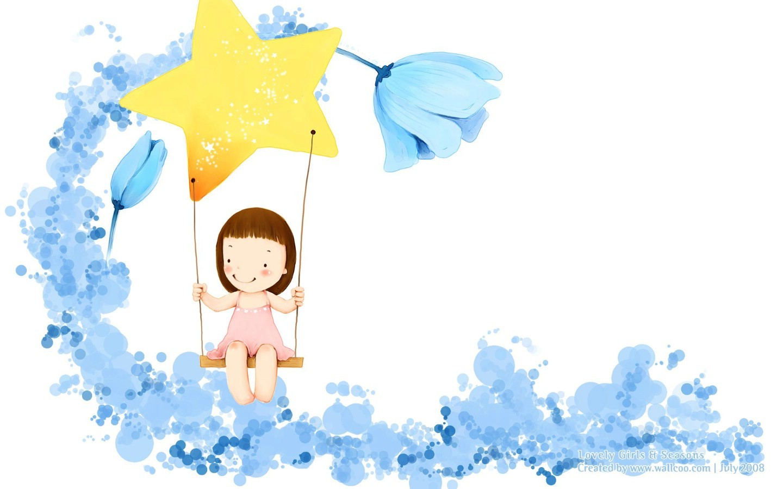 卡通小女孩插画壁纸 韩国儿童插画可爱小女孩壁纸