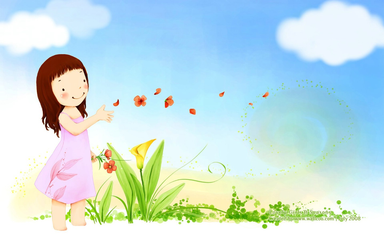 壁纸1440×900韩国卡通小女孩插画壁纸