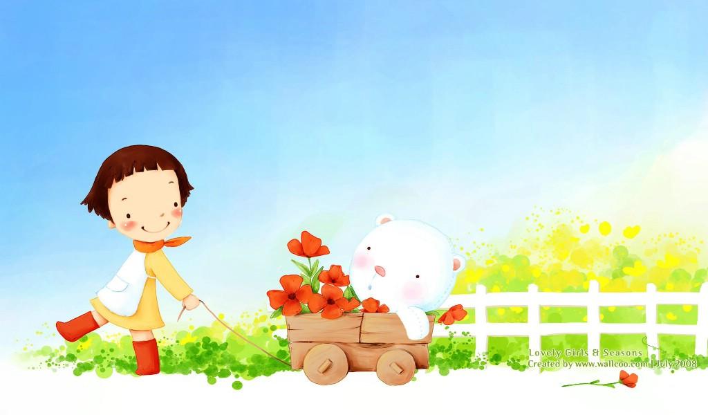 壁纸1024×600韩国可爱小女孩插画壁纸