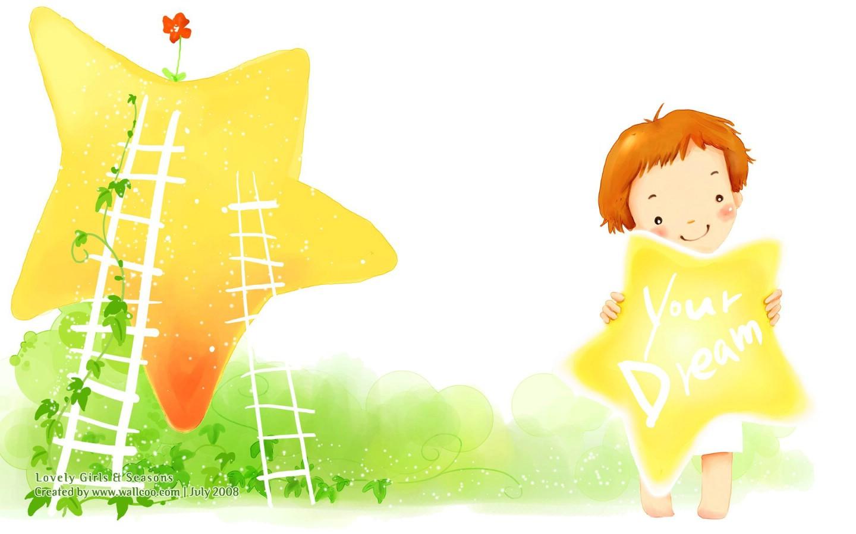 壁纸1440 900韩国可爱小女孩插画壁纸