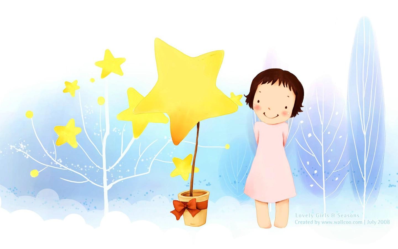 韩国小女孩插画壁纸