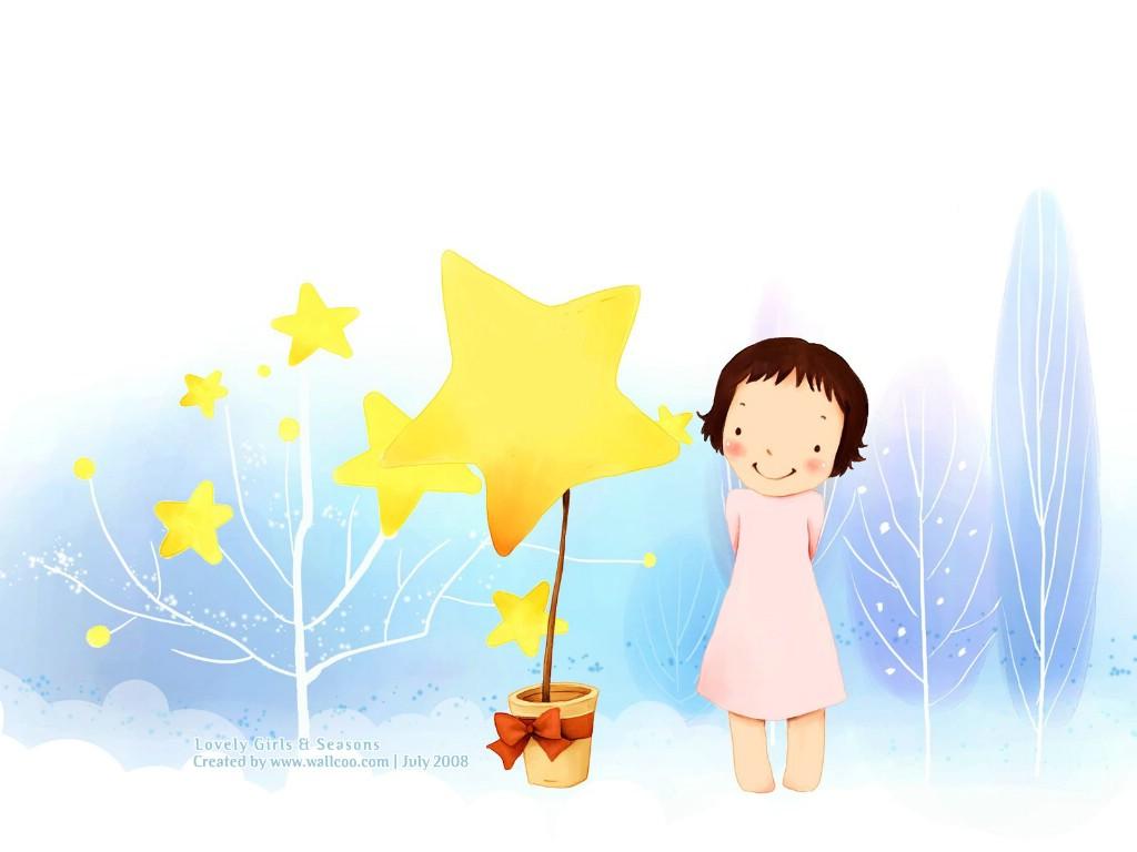 韩国小女孩插画壁纸 韩国儿童插画可爱小女孩壁纸