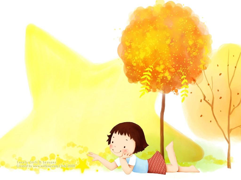 壁纸1024×768童话秋天 可爱小女孩插画壁纸,韩国儿童插画-可爱小女孩