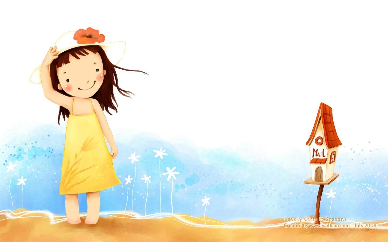 可爱卡壁纸图片; 壁纸1440×900童话秋天 可爱小女孩插画壁纸 韩国