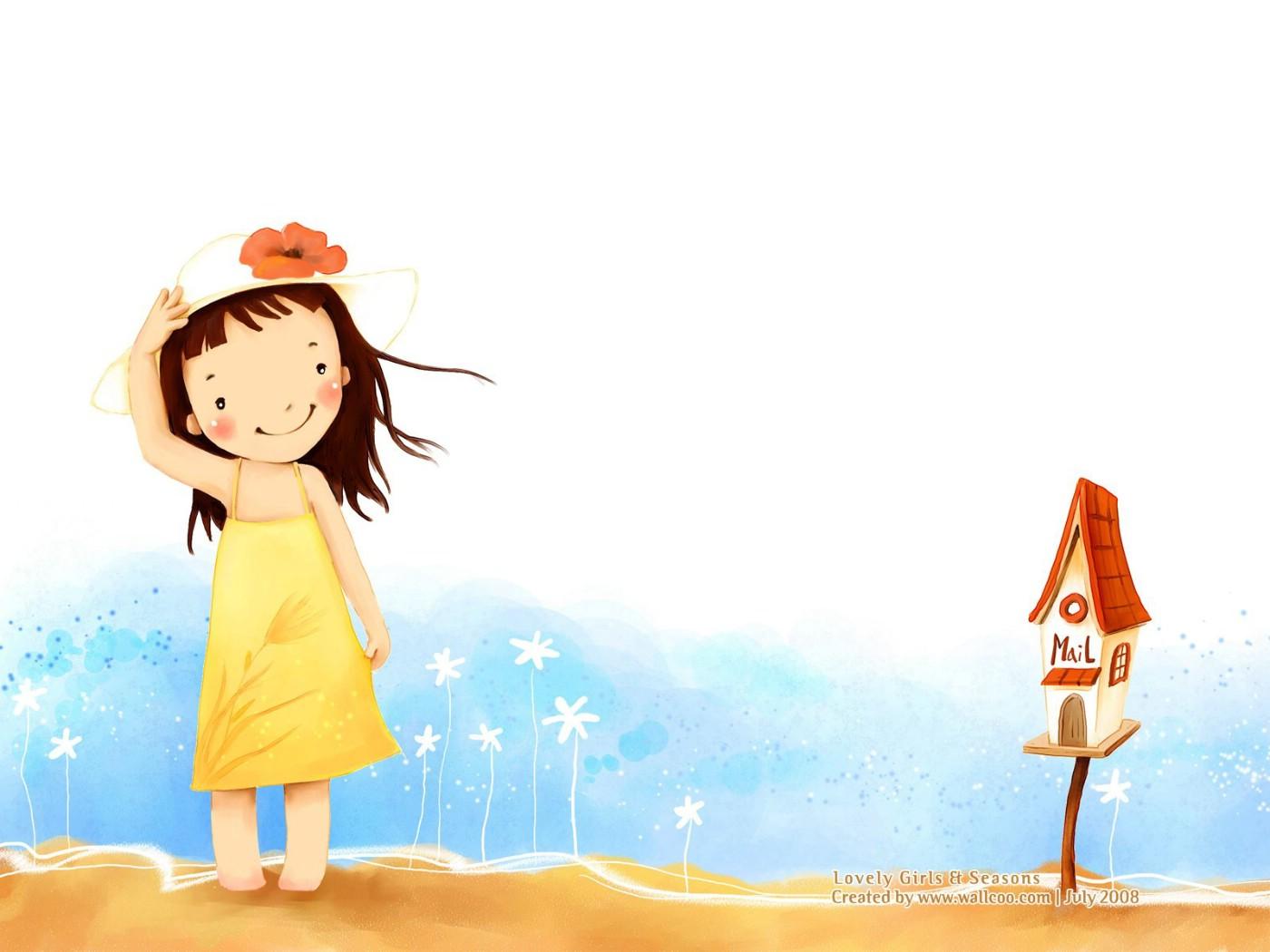 韩国儿童插画-可爱小女孩