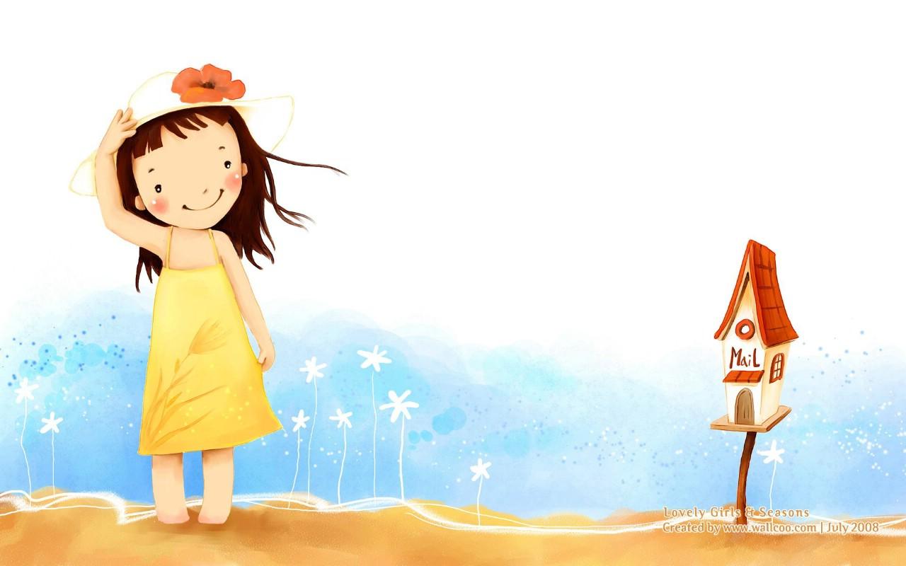 可爱小女孩壁纸图片插画壁纸插画图片素材桌面壁纸