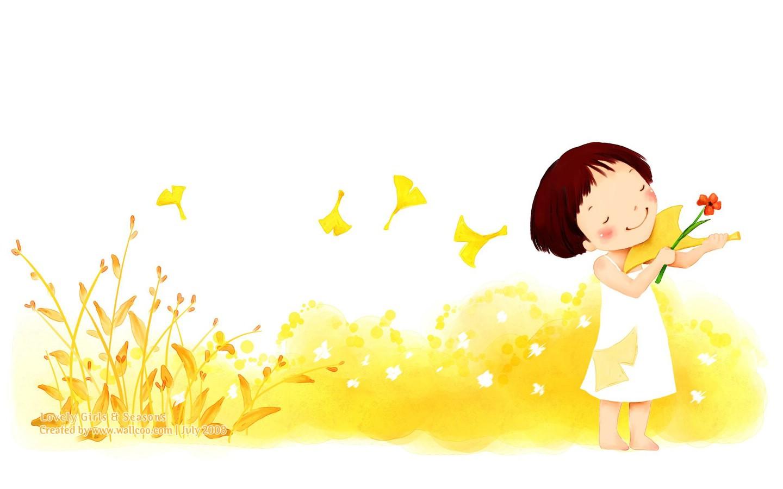 900童话秋天 可爱小女孩插画壁纸,韩国儿童插画 可爱小女孩