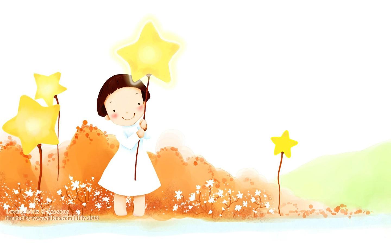 可爱小女孩插画壁纸,韩国儿童