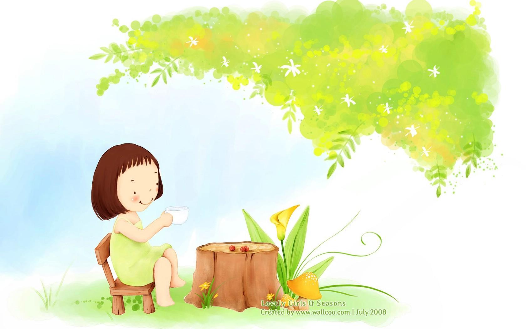 韩国卡通插画女孩 坐在行李箱上等车的金发女孩