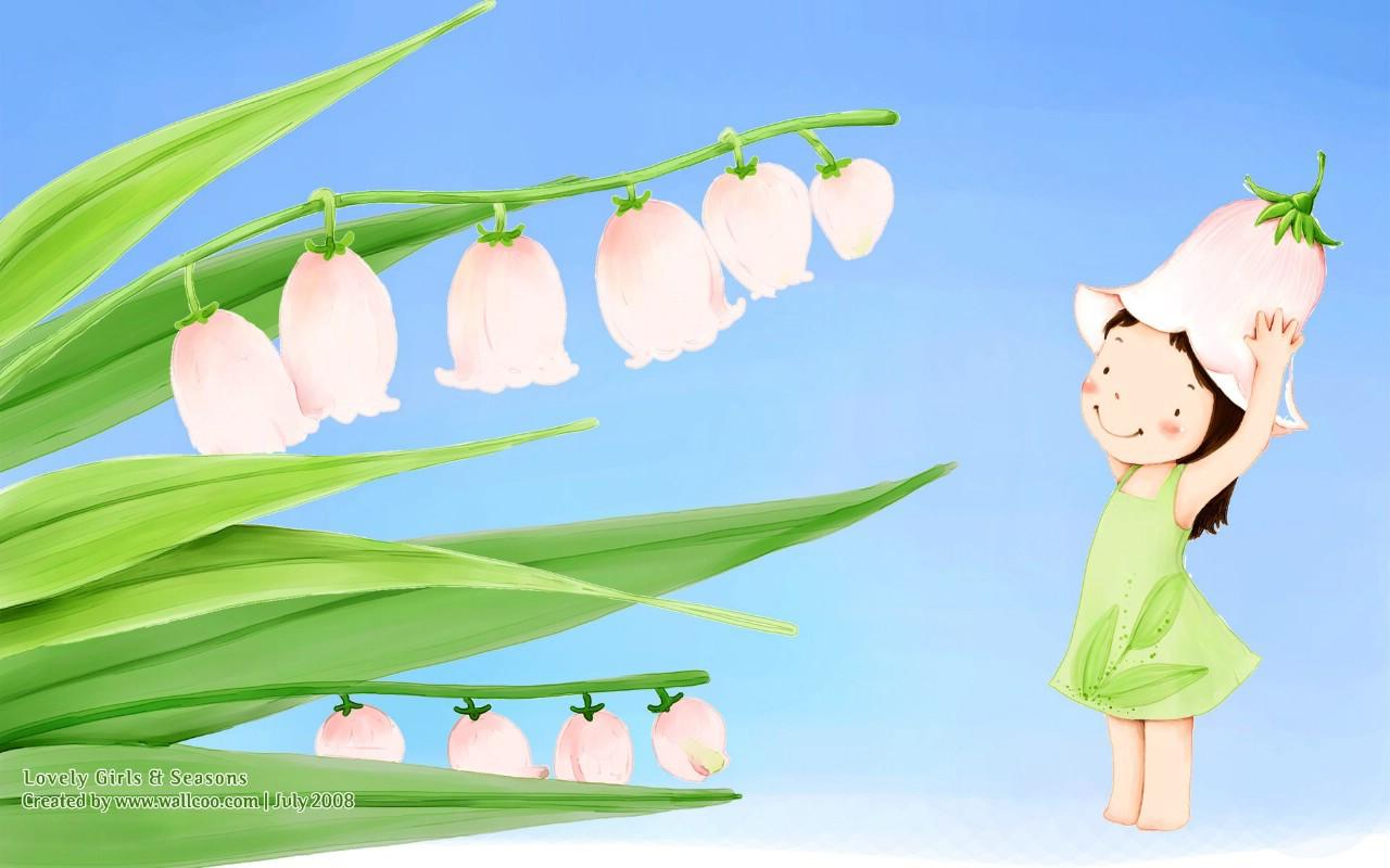 童话世界 可爱卡通 手绘儿童插画之站在铃兰下的女孩psd素高清图片