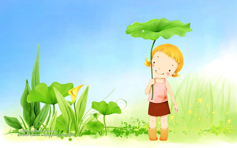 韩国小女孩插画壁纸,韩国儿童插画-可爱小女孩壁纸