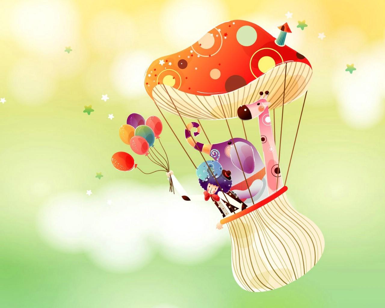 卡通热气球桌面壁纸
