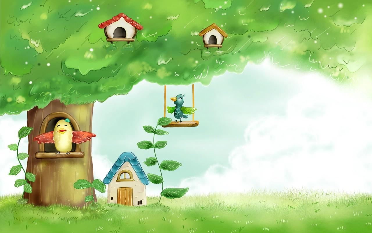 春天矢量图风景壁纸 卡通四季风景童话春天壁纸图片