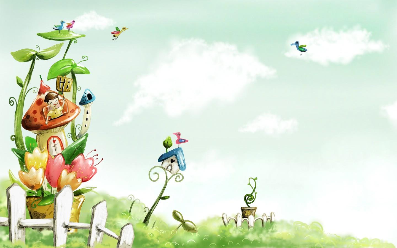 卡通四季风景童话春天壁纸图片插画壁纸插画图片素