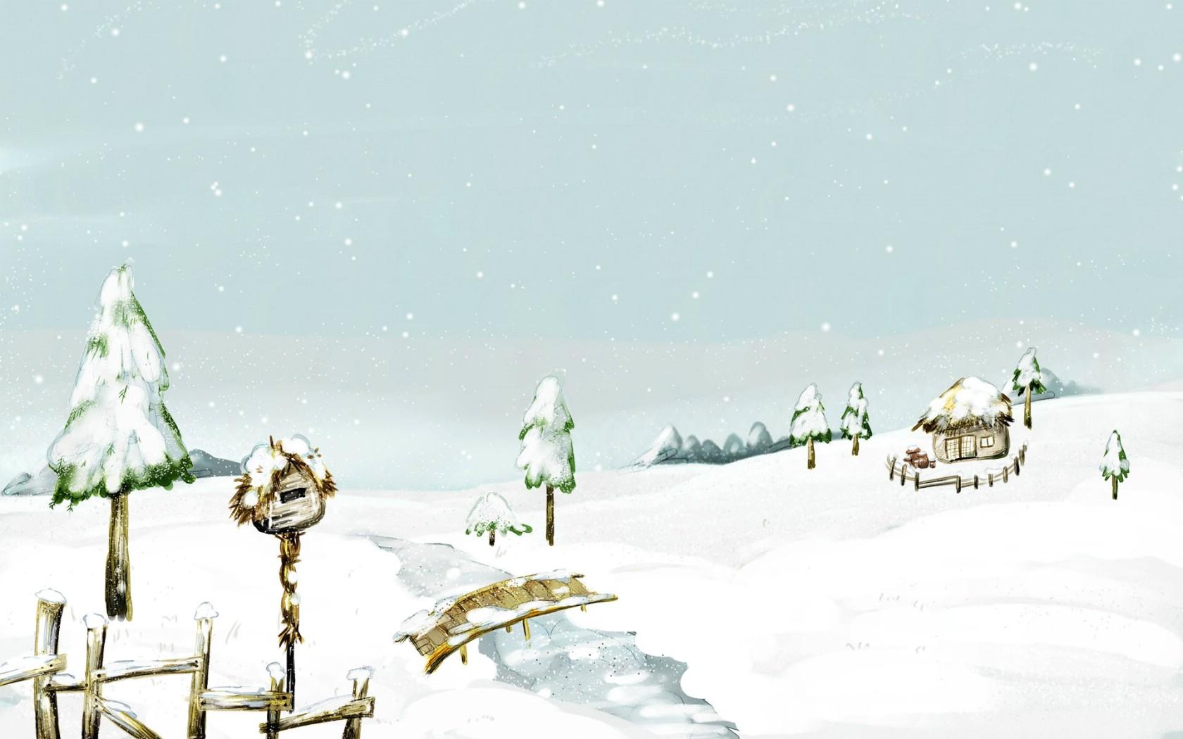 1050童话冬天 精美冬季风景插画 童话冬天 精美冬天图片 冬天雪景插