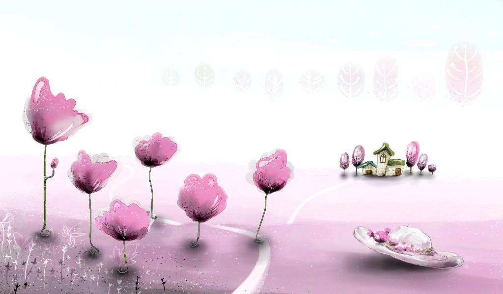 卡通四季风景童话秋天