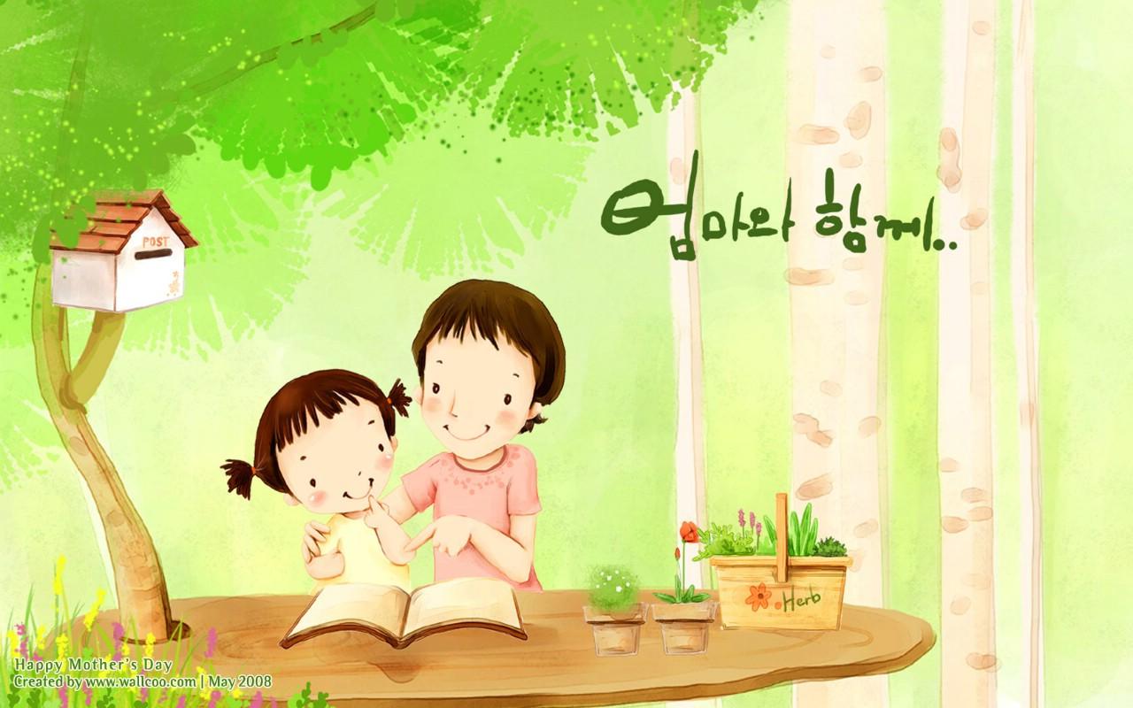 壁纸1280×800母亲节主题 可爱韩国插画壁纸