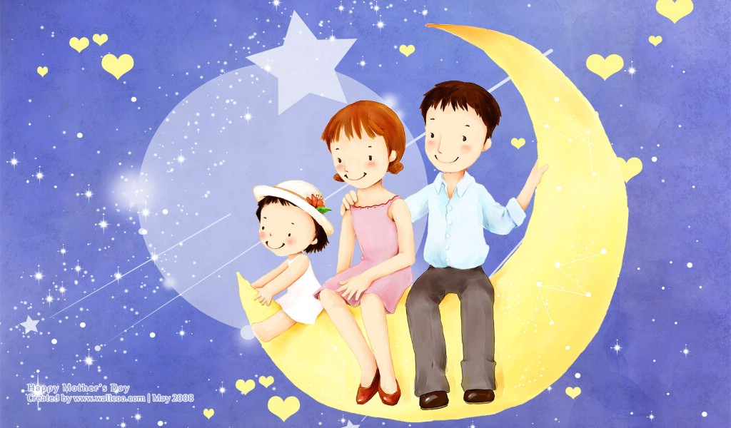母爱温馨的简笔画_母亲和孩子的简笔画