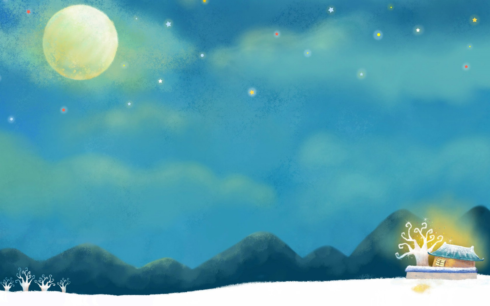 星空月亮手绘插画