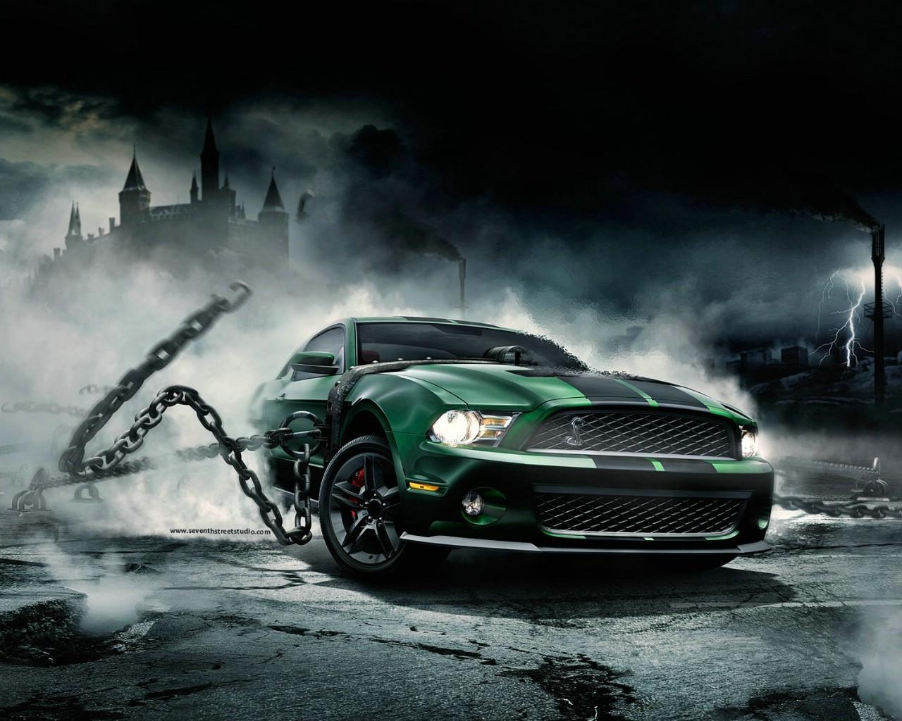 1024流行设计元素 汽车 疯狂福特野马跑车 创意设计壁纸壁纸,高清图片