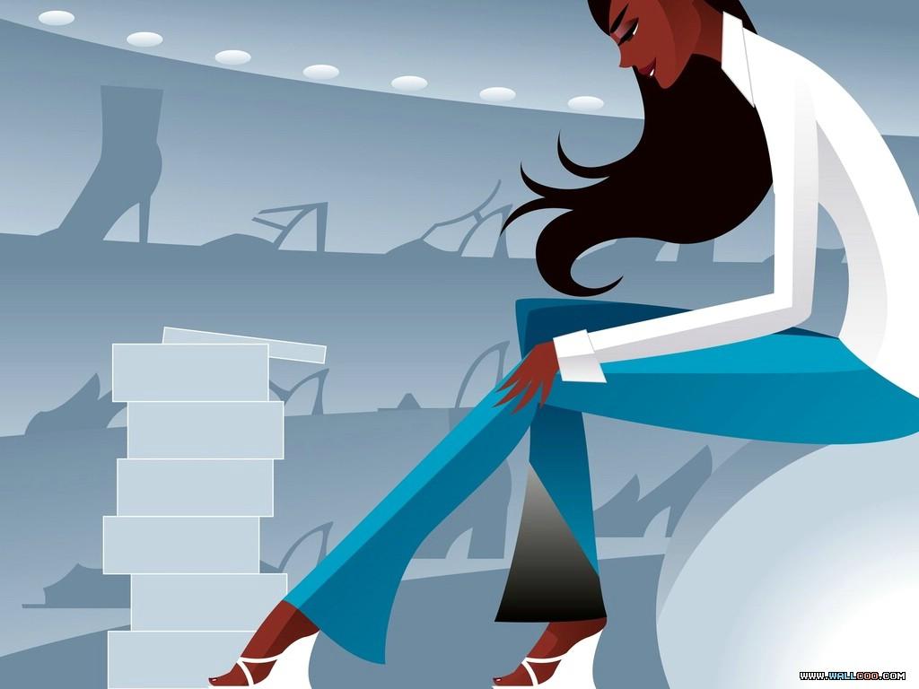 壁纸1024×768矢量时尚人物壁纸 Desktop Wallpaper of Vector Illustration of Young Woman壁纸 矢量时尚人物插画壁纸壁纸图片插画壁纸插画图片素材桌面壁纸