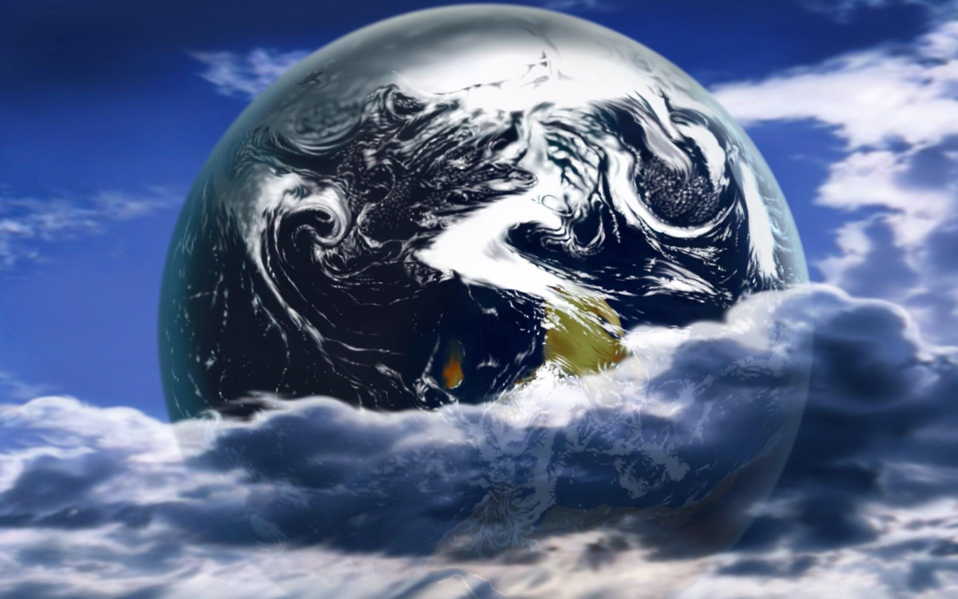 敦实的陆地、像彩笔画过般的云流,在深黑色宇宙帷幕的映衬下,一颗
