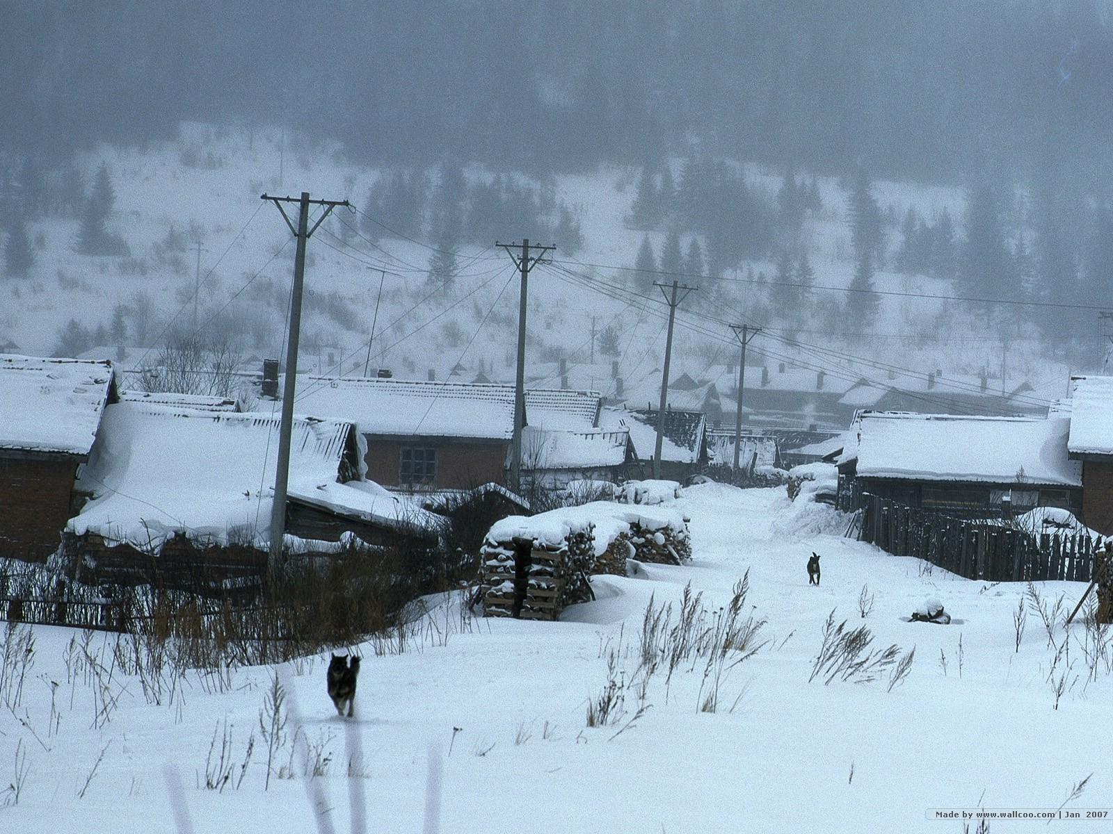 1200冬天下雪的小村图片 desktop wallpaper Snowing Village壁纸,冬