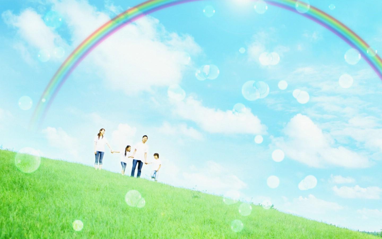 阳光彩虹 绿色草地