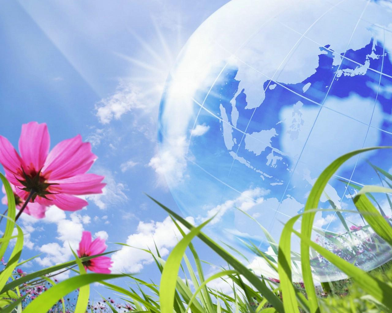 壁纸1280×1024第一集阳光鲜花蓝天白云清新大自然壁纸壁纸,梦幻大自然-