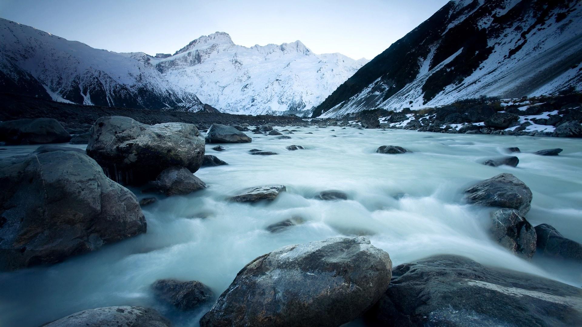 壁纸1920×1080新西兰雪山冰河