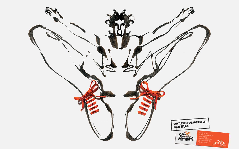 创意手绘运动鞋创意海报设计 公益筹款广告 3 jpg