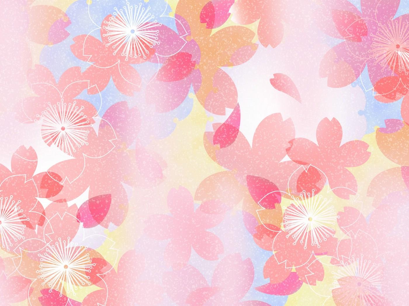 壁纸1400×1050甜美系 樱花碎花图案设计壁纸 美丽碎花布 之 粉红甜美系壁纸图片花卉壁纸花卉图片素材桌面壁纸